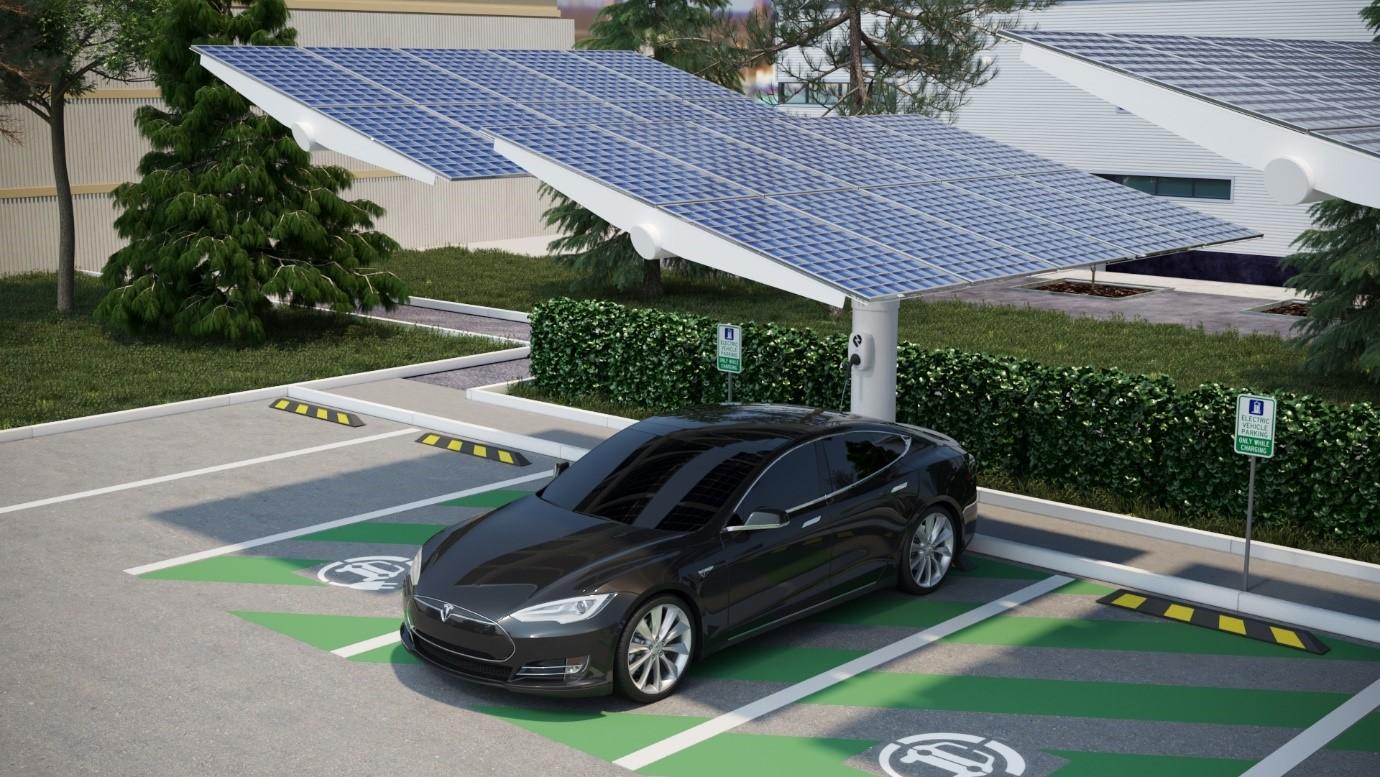 Solar powered car park charging