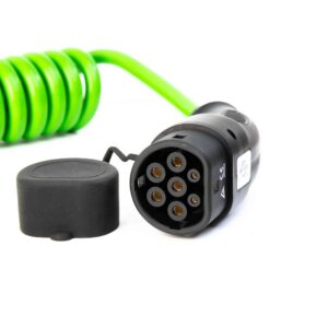 Hi-Vis Coiled Type 2 to Type 2 EV Charging Cable | 5 Metre | 7kW